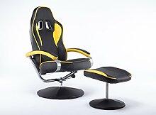 MCombo Racing Sessel Gaming Sessel Relaxsessel Fernsehsessel kippbar Dreh mit Hocker Vibration+Heizung (Gelb)