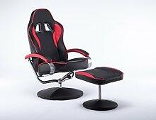 MCombo Racing Sessel Gaming Sessel Relaxsessel Fernsehsessel kippbar Dreh mit Hocker Vibration+Heizung (Rot)