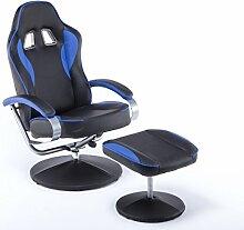 MCombo Racing Sessel Gaming Sessel Relaxsessel Fernsehsessel kippbar Dreh mit Hocker Vibration+Heizung (Blau)