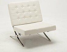 MCombo Sessel Relaxsessel Liegestuhl Modern Lounge Stuhl PU Leder Edelstahl (Weiß)