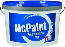 McPaint Wandfarbe Premiumweiß für den Innenbereich, matt 10 Liter, weiß