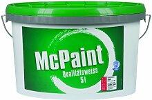 McPaint Wandfarbe Qualitätsweiß für den Innenbereich, matt 5 Liter, weiß