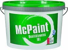 McPaint Wandfarbe Qualitätsweiß für den Innenbereich, matt 10 Liter, weiß