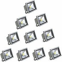MCTECH® 10 Stück 10W LED Strahler Fluter Flutlicht Garten Hoflampe IP65 Leuchtmittel Scheinwerfer Kaltweiß Wandstrahler Außenstahler (10X 10W Silber, Kaltweiß)