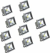 MCTECH® 10 Stück 10W LED Strahler Fluter Flutlicht Garten Hoflampe IP65 Leuchtmittel Scheinwerfer Warmweiß Wandstrahler Außenstahler (10X 10W Silber, Warmweiß)