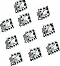 MCTECH® 10 x 10W LED Fluter Warmweiß Strahler Licht Scheinwerfer Außenstrahler Wandstrahler Aluminium IP65 Wasserdicht Silber