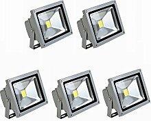 MCTECH 10W LED Strahler Fluter Wasserdicht Lampe Warmweiß Silber 5 Stück