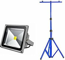 MCTECH® 30W LED Strahler Baustrahler Fluter Floodlight IP66 mit Teleskop-Stativ (30W Warmweiß+Stativ)