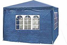 MCTECH® 4 x 3 m Gartenzelt Pavillon Bierzelt Partyzelt Festpavillon inklusive 4 Seitenwände, 2 x Fenster, 2 x Tür mit Reisverschluss, Wasserdicht PE Plane in Blau (4 x 3 m mit 4 Seitenwände, Blau)