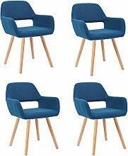 MCTECH® 4er Esszimmerstühle Besucher-Stuhl Esszimmerstuhl Wohnzimmerstuhl Bürostuhl Stuhlgruppe Konferenzstühle Küchenstuhl Armlehne (Dunkelblau)
