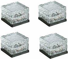 MCTECH® 4er Set LED Solar Glas Pflasterstein Wegbeleuchtung Bodenleuchte mit Lichtsensor klein 7 x 7 cm Kabellose Gartenleuchten Gartenwege als dekorative (RGB)