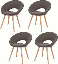 MCTECH® 4er Set Retro Esszimmerstühle Besucher-Stuhl Esszimmerstuhl Wohnzimmerstuhl Stuhlgruppe Konferenzstühle Bürostuhl Küchenstuhl mit Armlehne Büro (Dunkelgrau)
