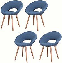 MCTECH® 4er Set Retro Esszimmerstühle Besucher-Stuhl Esszimmerstuhl Wohnzimmerstuhl Stuhlgruppe Konferenzstühle Bürostuhl Küchenstuhl mit Armlehne Büro (Dunkelblau)