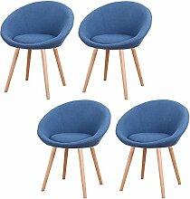 MCTECH® 4x Esszimmerstühle Besucher-Stuhl Esszimmerstuhl Wohnzimmerstuhl Stuhlgruppe Konferenzstühle Bürostuhl Stoff Küchenstuhl mit Armlehne (Dunkelblau)