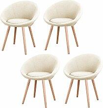 MCTECH® 4x Esszimmerstühle Besucher-Stuhl Esszimmerstuhl Wohnzimmerstuhl Stuhlgruppe Konferenzstühle Bürostuhl Stoff Küchenstuhl mit Armlehne (Beige)