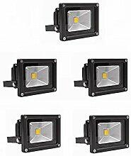 MCTECH® 5 Stück 10W LED Strahler Fluter Flutlicht Garten Hoflampe IP65 Leuchtmittel Scheinwerfer Warmweiß Wandstrahler Außenstahler (5X 10W schwarz, Warmweiß)