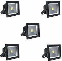 MCTECH 50W LED Strahler Fluter 2500~3000K Wasserdicht IP 65 Lampe Warmweiß Schwarz 5 Stück