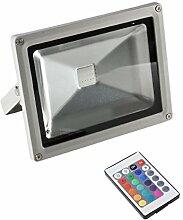 MCTECH 50W RGB Strahler wasserdichtes LED Flutlicht/ Fluter RGB(16 unterschiedene Farben) LED IP65 Scheinwerfer / Licht Beleuchtung (50 Watt)