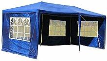 MCTECH® 6 x 3 m Gartenzelt Pavillon Bierzelt Partyzelt Festpavillon inklusive 4 Seitenwände, 4 x Fenster, Wasserdicht PE Plane in Blau (6 x 3 m mit 4 Seitenwände, Blau)