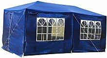 MCTECH® 6 x 3 m Gartenzelt Pavillon Bierzelt Partyzelt Festpavillon inklusive 6 Seitenwände, 4 x Fenster, 2 x Tür mit Reisverschluss, Wasserdicht PE Plane in Blau (6 x 3 m mit 6 Seitenwände, Blau)
