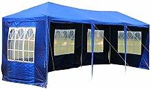 MCTECH® 9 x 3 m Gartenzelt Pavillon Bierzelt Partyzelt Festpavillon inklusive 5 Seitenwände, 5 x Fenster, Wasserdicht PE Plane in Blau (9 x 3 m mit 5 Seitenwände, Blau)