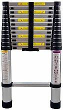MCTECH® Aluminium Teleskopleiter klappbar 3,8m Multifunktionsleiter Aluleiter Klappleiter 150 kg Belastbarkeit (3,8m)