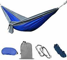 MCTECH® Hängematte Mehrpersonen Belastbarkeit bis 300 kg Fürs Freie oder einen Innengarten Outdoor Reise Camping (2.5*1.3m Hängematte, Grau + blau)