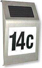 MCTECH® LED Solarhausnummer edelstahl Solar