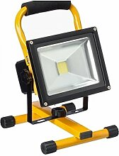 MCTECH® LED Strahler, Fluter, 30 Watt, Lichtfarbe warmweiss, mit Akku, IP65 Schutzart. Nutzung als Sicherheitsbeleuchtung, für Camping, als Arbeitsleuchte, Beleuchtung für Bürogebäude, für den Aussenbereich, beim Angeln