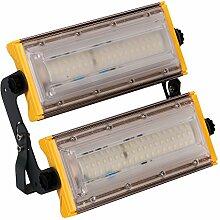MCTECH Neu Typ Ultraslim 100W LED Warmweiß Flutlicht Strahler Kombination Fluter Außenleuchte Scheinwerfer Aussenstrahler Gelb (100W Warmweiß)