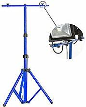MCTECH® Teleskop Stativ Flutlicht Ständer Strahler Stahlstativ für Baustrahler LED Fluter Arbeitslampe (blau Teleskop-Stativ)