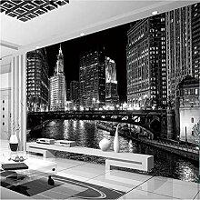 Mddjj 3D Wandbild Tapete Schwarz-Weiß Stadt Nacht