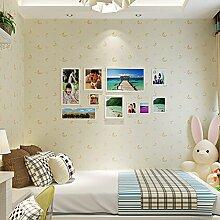 MDDW-3D Vlies-Tuch blau Kinder Zimmer Tapete Tapete schöne-Karikatur für Jungen und Mädchen Schlafzimmer rosa Mond und Sterne , meters yellow