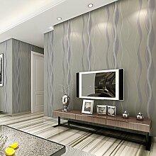 MDDW-3D Wallpaper reine Faser Vlies modern und einfach Streifen Tapete Schlafzimmer Wohnzimmer TV Hintergrundwand , silver