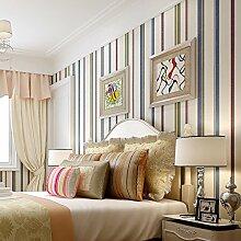 MDDW-Amerikanische ländliche England grüne Tapete Schlafzimmer Kinderzimmer Tapete Farbe Längsstreifen Normalpapier Wohnzimmer Wände