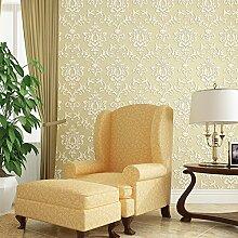 MDDW-Echte 3D geprägte Vliesstoffe Prägung Tapete Blumen Tapete Wohnzimmer Schlafzimmer gehobenen Hintergrund Tapeten , light yellow wj505