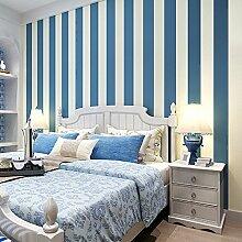 MDDW-Einfache Streifen vertikale Streifen Vlies Tapete Tapeten moderne Schlafzimmer Wohnzimmer mit Pu , super fiber stripe (light blue)