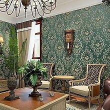 MDDW-Europäische Vliestapete 3D Damaskus Luxus warme Schlafzimmer Wohnzimmer Tapete , 828205 retro green