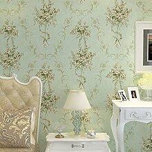 MDDW-Handgeschnitzte 4D Vliestapeten, grüne Tapete warmen Stil Wohnzimmer Schlafzimmer TV Gartenmauer , wallpaper