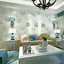 MDDW-Heiße warme kontinentale pastorale Tapete Wohnzimmer Schlafzimmer Hintergrund Vliestapete , light blue