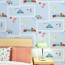 MDDW-Kinder Zimmer blauen Streifen gewebt Tapete Tapeten autofreien grünen jungen und Mädchen Schlafzimmer