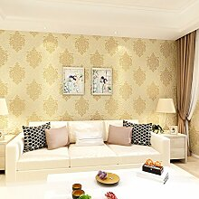 MDDW-Kontinentale Vlies Tapete 3D Damaskus Wohnzimmer Schlafzimmer Sofa TV Wand Hintergrundbild , golden yellow 77825