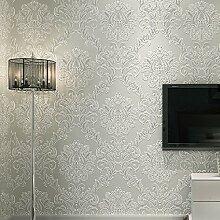 MDDW-Luxuriöse europäischem Vergoldung Damaskus 3D Vlies Tapeten Wohnzimmer Schlafzimmer Wand Tapete , meters white