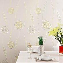 MDDW-Moderne und einfache Vliestapete 3D Anaglyph beflockte Sub Golden Sun Wohnzimmer Schlafzimmer Teppichboden Tapete , 88081