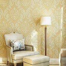 MDDW-Nonwoven Beflockung kontinentalen dreidimensionalen Relief Tapete Schlafzimmer/Wohnzimmer TV Hintergrund Tapeten , beige