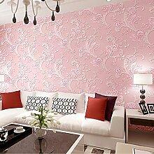MDDW-Romantische Garten Blume Hintergrund Wand Papier 3D Vliesstoff Wohnzimmer Haus Grüne Tapete , Pink