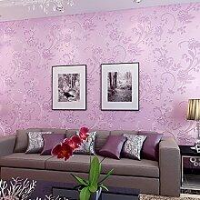 MDDW-Romantische Garten Blume Hintergrund Wand Papier 3D Vliesstoff Wohnzimmer Haus Grüne Tapete , Purple