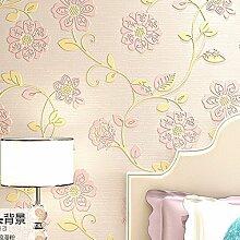 MDDW-Stereoskopische 3D Vlies Tapete warme pastoral geprägte Tapete Schlafzimmerwände Wohnzimmer , stereo relief (light pink)