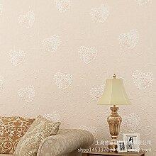MDDW-Tapeten-Stil pastorale Tapete Vlies Herzen warm Schlafzimmer Wohnzimmer Kinderzimmer Zimmer Teppichboden Tapete , light beige