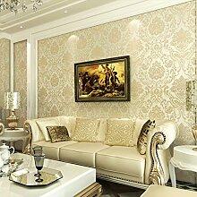 MDDW-Vliestapete Schlafzimmer Wohnzimmer TV Hintergrund Wand Papier Anaglyph 3D Beflockung bestreut gold Teppichboden Tapete , Yellow
